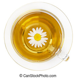 Cup of healthy chamomile tea isolated on white.
