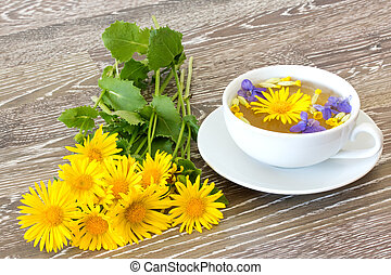 herb tea with coltsfoot
