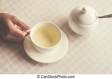 Cup of herbal tea standing on the table