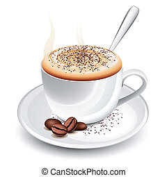 Cup of hot coffee with foam and spoon