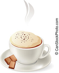 Cup of hot cappuccino isolated