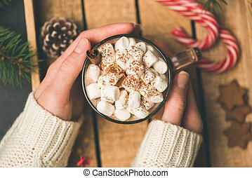 Cup of hot chocolate with marshmallows in girl hands