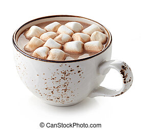 Cup of hot cocoa with marshmallows isolated on white...