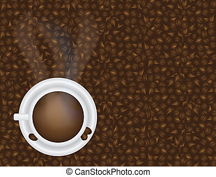 Cup of Hot Coffee and Beans Background Illustration