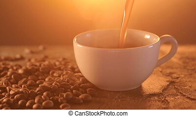 Cup of hot beverage with Steam. - Cup of Hot Coffee...