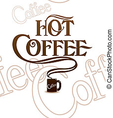 Cup of hot coffee. Over white. Tile background