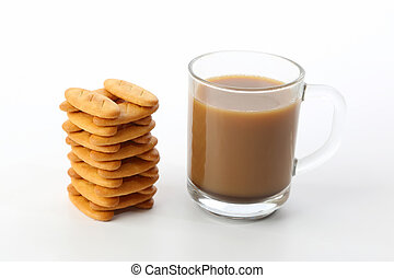 cup of hot coffee with biscuits