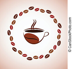 cup of hot coffee with coffee bean frame