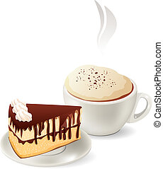 Cup of hot coffee with slice of chocolate cake