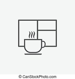 Cup of hot drink and window icon isolated on white background.