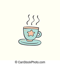 Cup of hot drink doodle style cartoon element vector illustration isolated.