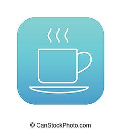 Cup of hot drink line icon.