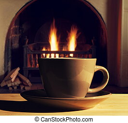 cup of hot drink on table