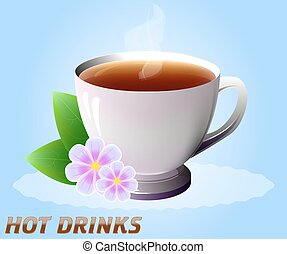 Cup of hot drink with flowers. Tea, coffee, etc. Vector