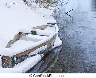 Cup of hot tea in wood boat on the river