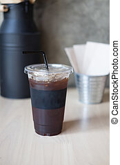 cup of iced black coffee americano