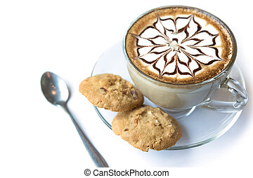 Cup of latte coffee and Homemade cookies on white background