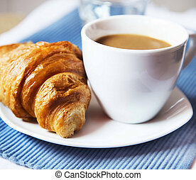 Latte Coffee with French Croissant, Selective Focus