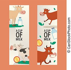 Cup of milk set of banners vector illustration. Curious cow ...