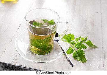 Cup of nettle tea for healthy diuretic - Cup of nettle tea...