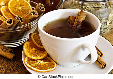Cup of orange tea with cinnamon
