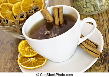 Cup of orange tea with cinnamon