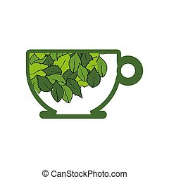 cup of organic herbal leaf tea for healthy life logo
