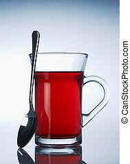 Cup of red fruit tea
