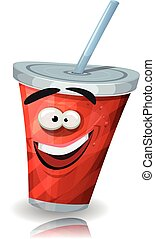 Cup Of Soda Character With Straw