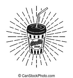 Cup of soda with rays vector illustration