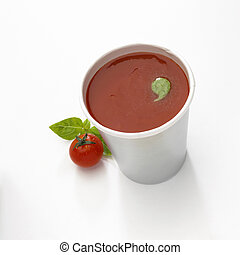 Cup of soup - A cup of tomato soup isolated on a white ...