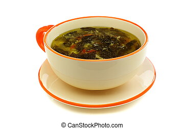 Cup of soup with fresh sorrel