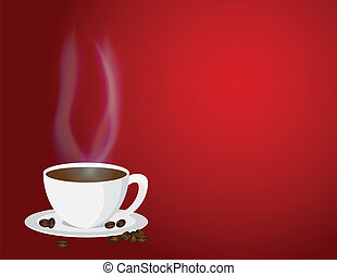 Cup of Steaming Hot Coffee and Beans Illustration - Cup of...