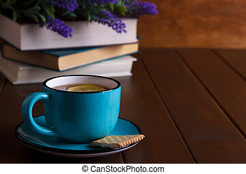 Cup of tea and books