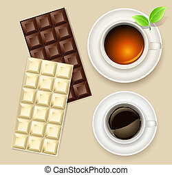 cup of tea and chocolate bar