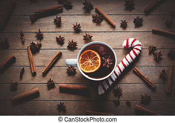 Cup of tea and cinnamon with star anise