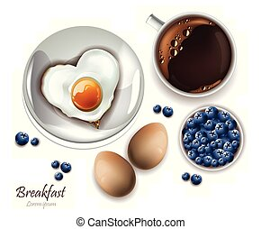 Cup of tea and eggs breakfast. Vector realistic Layout menu, page, cooking books