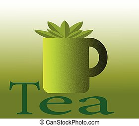 Cup of tea and green leaves,Green tea,Vector illustration.