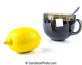 Cup of tea and lemon on a white background with free space for text.
