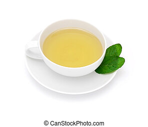 Cup of tea and mint isolated
