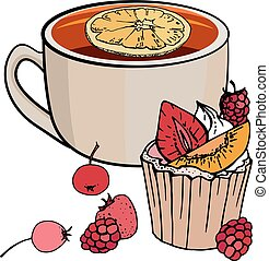 Cup of tea and sweet muffin with berries isolated on white background. Vector illustration. For restaurant and cafe menu.