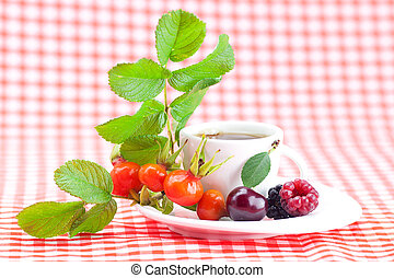cup of tea, blackberry, raspberry and rosehip berries with leaves on plaid fabric