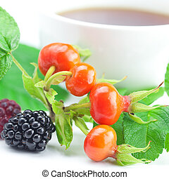 cup of tea, blackberry, raspberry and rosehip berries with leaves on white background