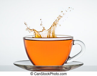 Cup of tea - cup of tea on the mirror surface