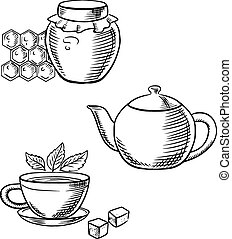 Cup of tea, honey jar and teapot sketches