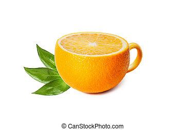 Cup of tea in the form of orange isolated on white