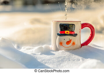 cup of tea in the snow