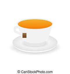 Cup of tea. Isolated on blue background with long shadow. Modern vector illustration.