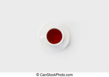 Cup of tea isolated on white, top view.
