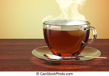 Cup of tea on the wooden table. 3D rendering